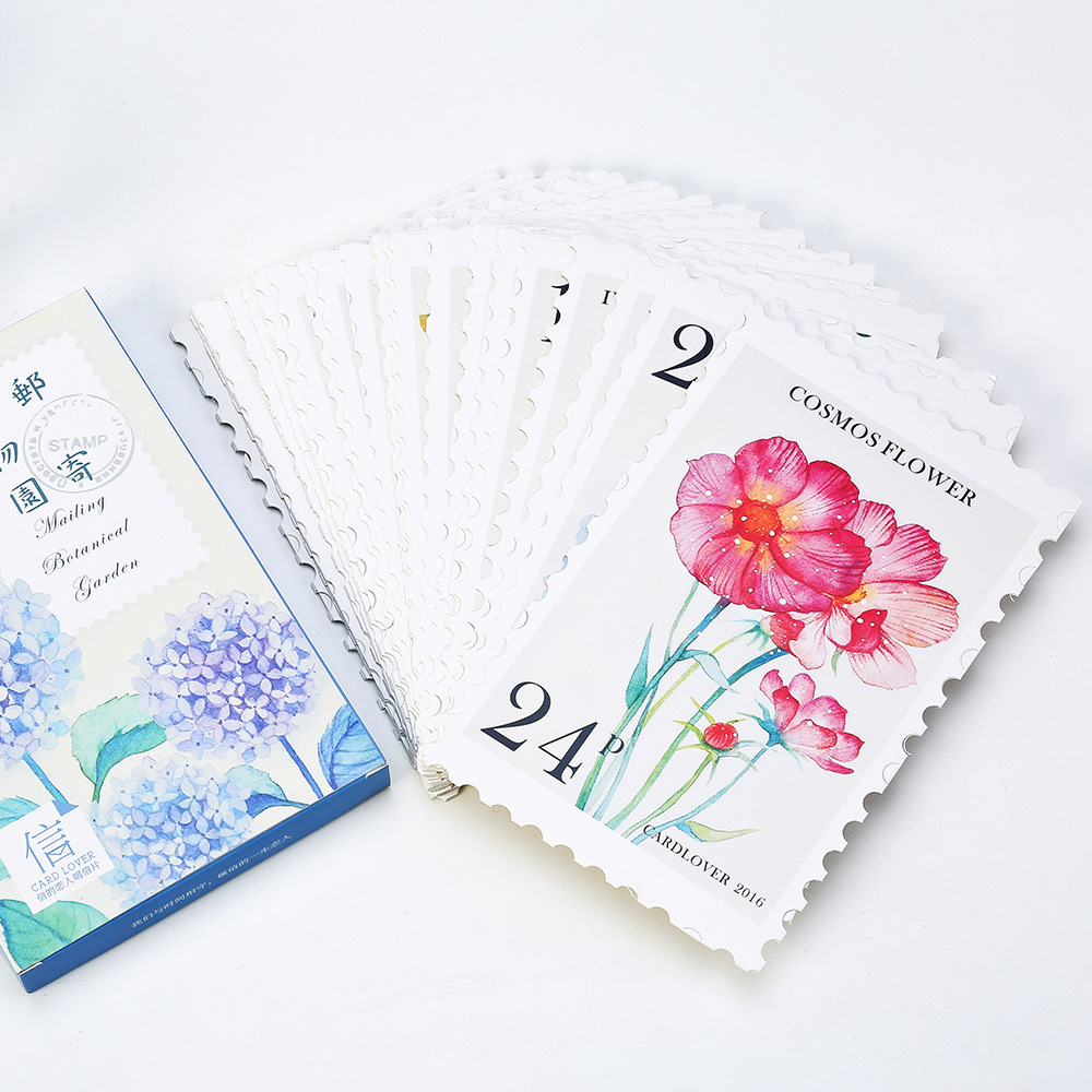 30pcs/pack Korean Mailing Botanical Garden Watercolor Painting Floral Flower and Plant Kawaii  Postcard Card Message Card Notes