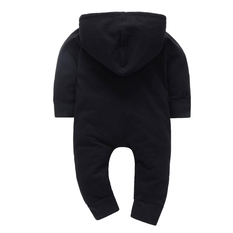 COSPOT 2018 New Newborn Black Romper Spring Autumn Black Long Sleeved Hooded Jumpsuit Body Suit Infant Baby Boys Clothes 30E