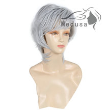 Medusa hair products: Modern shag style Synthetic pastel wigs for women Short wavy Mix color wig with bangs Peruca curta SW0097D