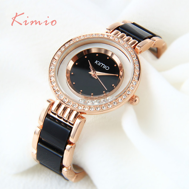 Kimio ultra slim Top Brand Woman watches Fashion Ladies Crystal Clock Black Cera