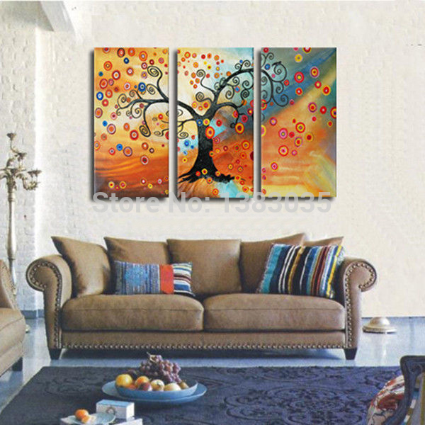 Hand Painted Modern Abstract Tree Of Life Painting Set Of 3 Panel Wall Art Oil Canvas
