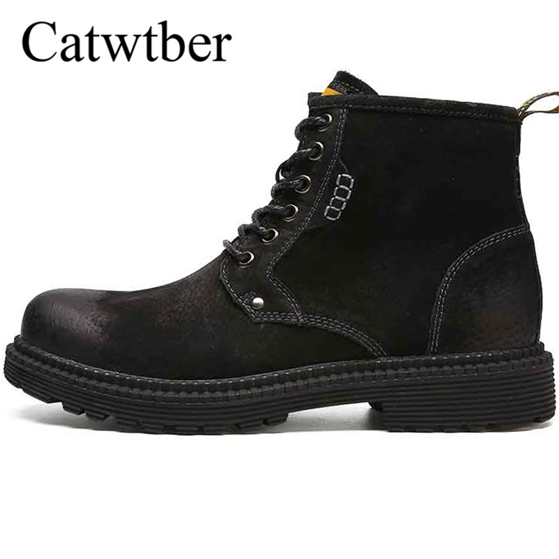 Catwtber Outdoor Full Grain Leather Men Boots Handmade Warm Men Winter Outdoor Plush Fur Ankle Snow Boots Shoes Zapatos Hombre