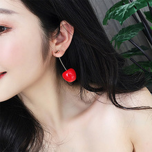 1 Pair Cute Round Red Cherry Resin Korean Drop Earrings Fruit Dangle Romantic Women Girl Valentines Gifts for party Travel