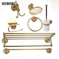 Золотистые Аксессуары для ванной комнаты бумаги, держатель для туалетной щетки стойки товар в корзину полка мыльница крючок Фен