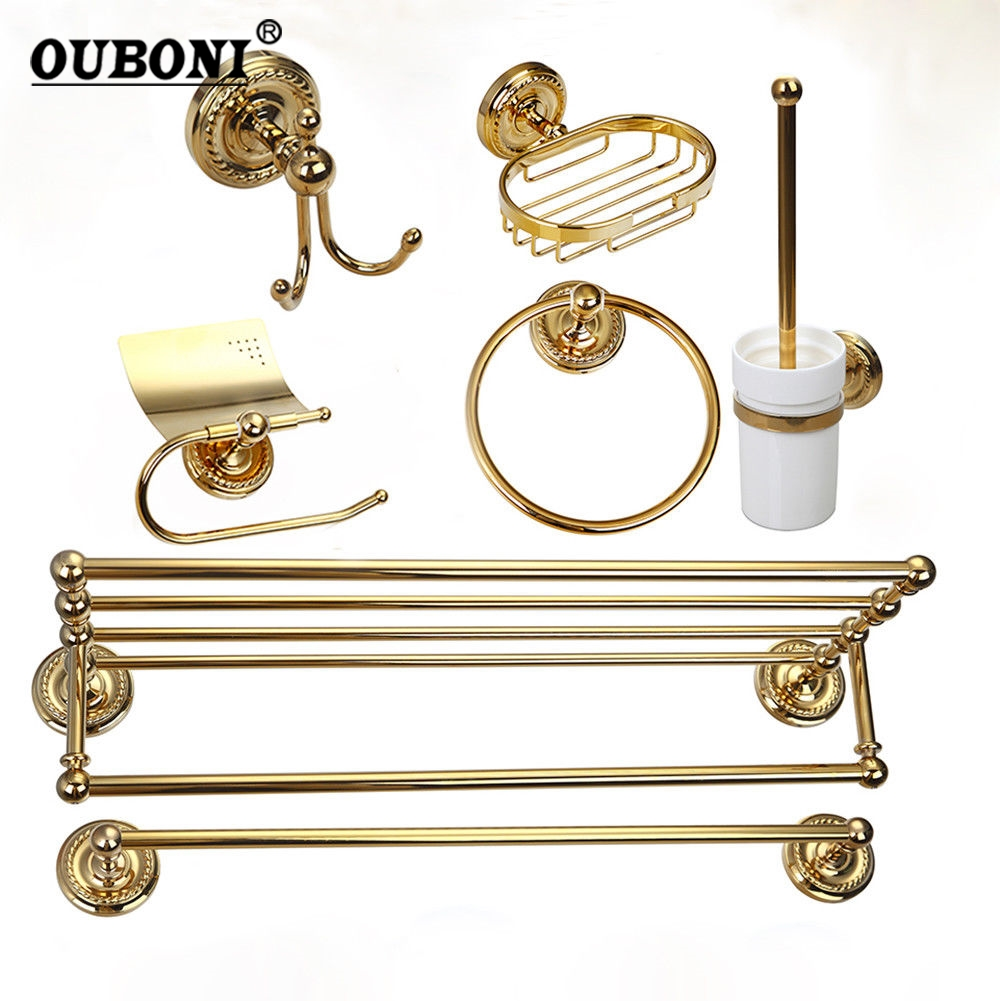 Golden Plated Bathroom Accessories paper Holder Toilet Brush Rack Commodity Basket Shelf Soap Dish Robe Hook Hair Dryer free shipping modern fashion bathroom hair dryer shelf rack golden finish commodity holder wall mount bathroom accessories3318
