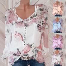 a9293aa81e78 Femmes papillon fleur motif blouse Printemps Été Automne Chemise En Mousseline  de Soie D impression À Manches Longues Bouton en .