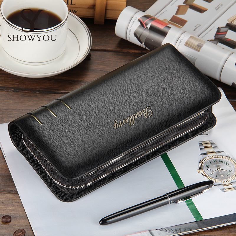 Creative Double Zipper Clutch Wallets Men Quality Guarantee Business Casual Long Purse Bag Male Black Coffee Phone Cards Holder 2017 new business men wallets design casual card purse for male long brand clutch phone bag with zipper gift for men