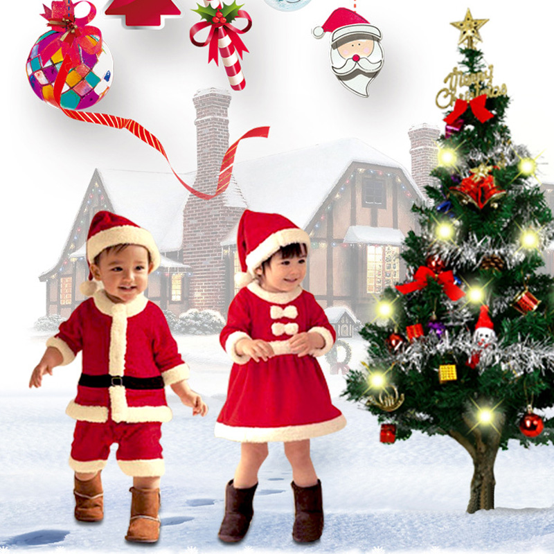 Children Christmas Clothing Set Baby Boys Girls Christmas Suit and Dress Santa Claus Costumes Newborn Enfant Clothes C087