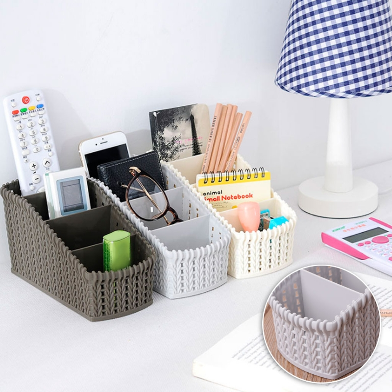 4 Grid Desktop Makeup Storage Box Rattan Basket Remote Stationery Organizer New