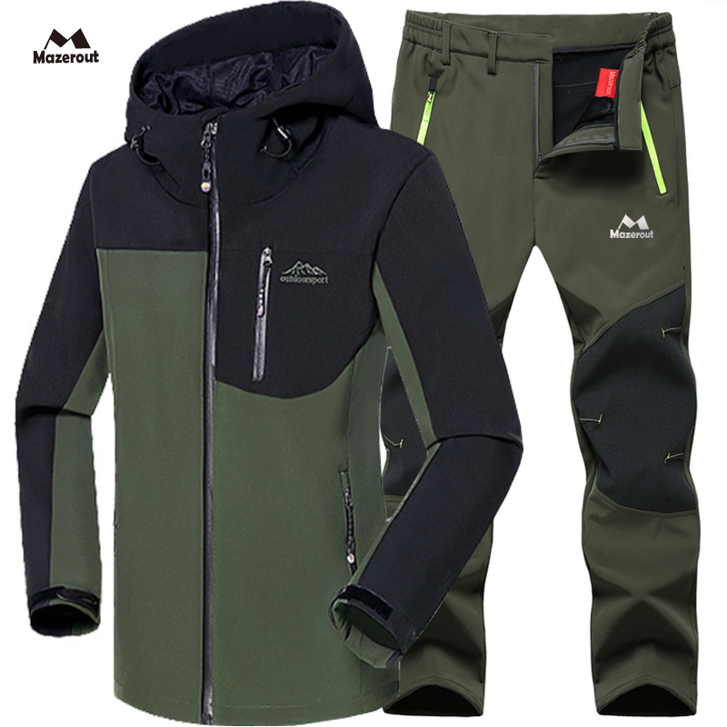 MAZEROUT Pants Jacket-Set Softshell Fleece Skiing Hiking Warm Fishing Climb Outdoor Waterproof