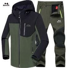 Мужские зимние водонепроницаемые рыбий лыжный теплый флисовый походный лагерь пальто комплект верхней одежды брюки для альпинизма большие брюки