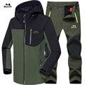 Мужская зимняя водонепроницаемая лыжная куртка  Флисовая теплая куртка для походов  лыжных походов  брюки