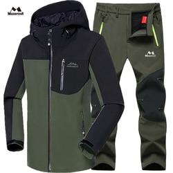 MAZEROUT hombre invierno impermeable pesca esquí cálido Softshell polar senderismo al aire libre Trekking Camping chaqueta conjunto pantalones 5XL subir