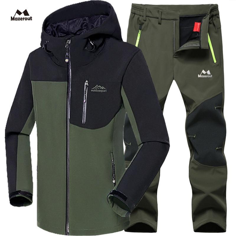 Man Winter Waterproof Fish Ski Warm Softshell Fleece Hiking Outdoor Trekking Camp Coat Outwear Set Pants Climb Oversize Trousers