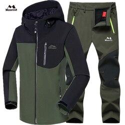 Mann Winter Wasserdichte Fisch Ski Warme Softshell Fleece Wandern Outdoor Trekking Camp Mantel Outwear Set Hosen Klettern Oversize Hosen