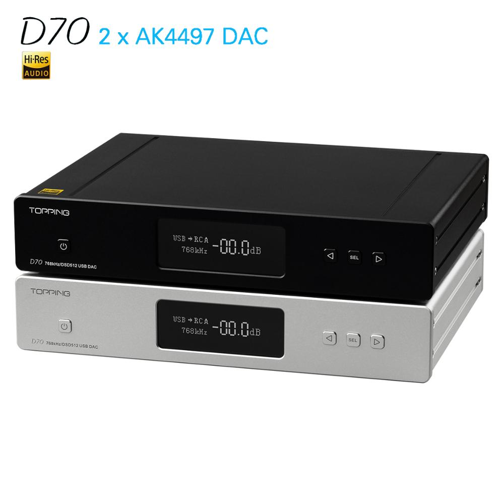 NEW TOPPING D70 AK4497 2 AK4118 USB DAC XMOS AUDIO DSD512 32bit 768khz Desktop Decoder Support