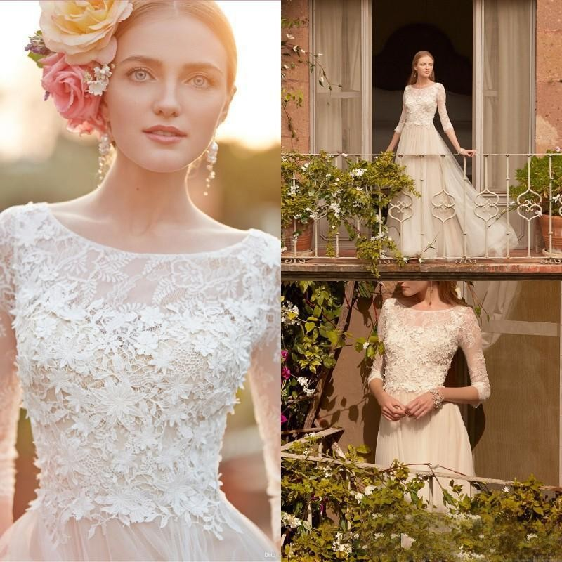 Popular Modest Lace Wedding Dress-Buy Cheap Modest Lace Wedding ...