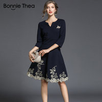 2018 Autumn new women Vintage Print Embroidery short dress Female V Neck Knee Length A Line dress office Lady party dresses