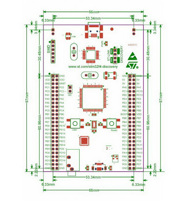 STM32F401C-DISCO board dimensions