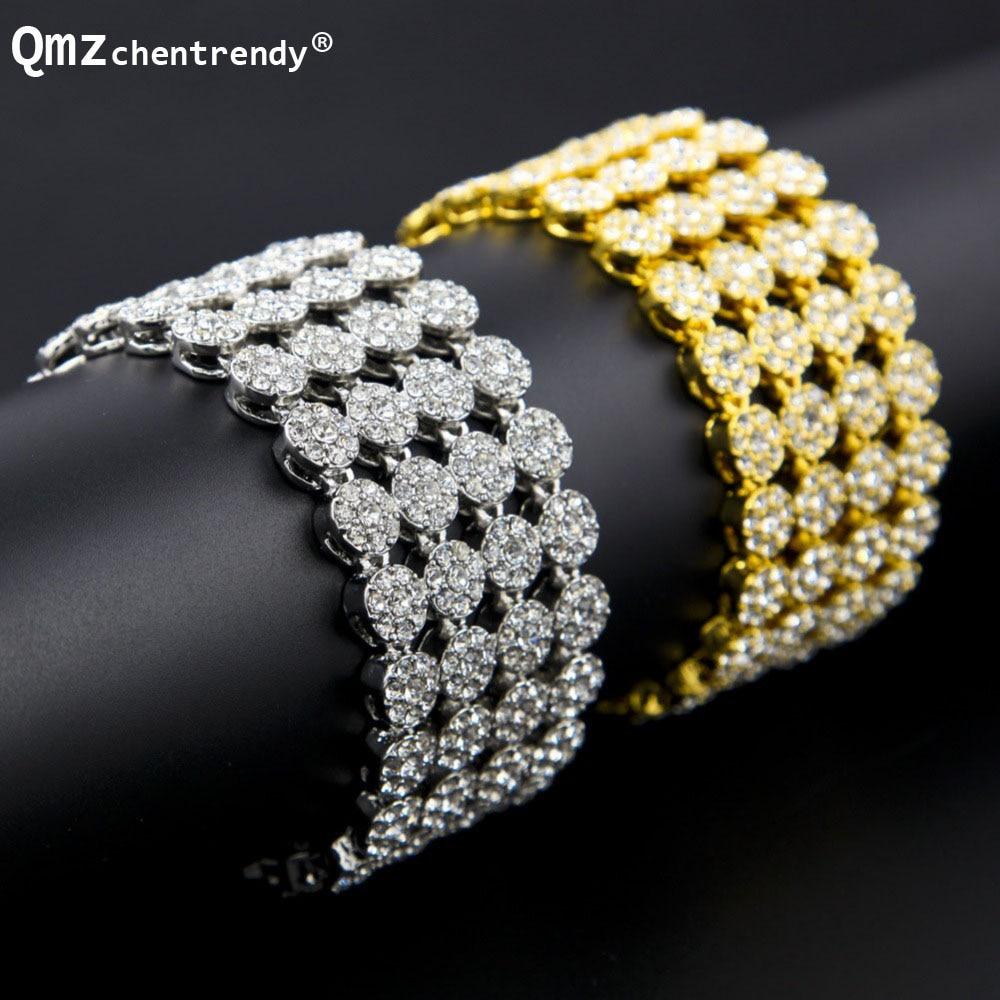 Хип-хоп позлатен сребрист Bling 4 реда - Модни бижута - Снимка 1