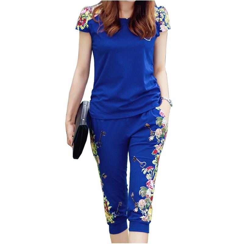 2018 Woman Two Piece Set Summer Sportswear Suit Short Sleeve Cotton Sportssuit Two-piece Outfits Set 2 Piece Set Women Tracksuit