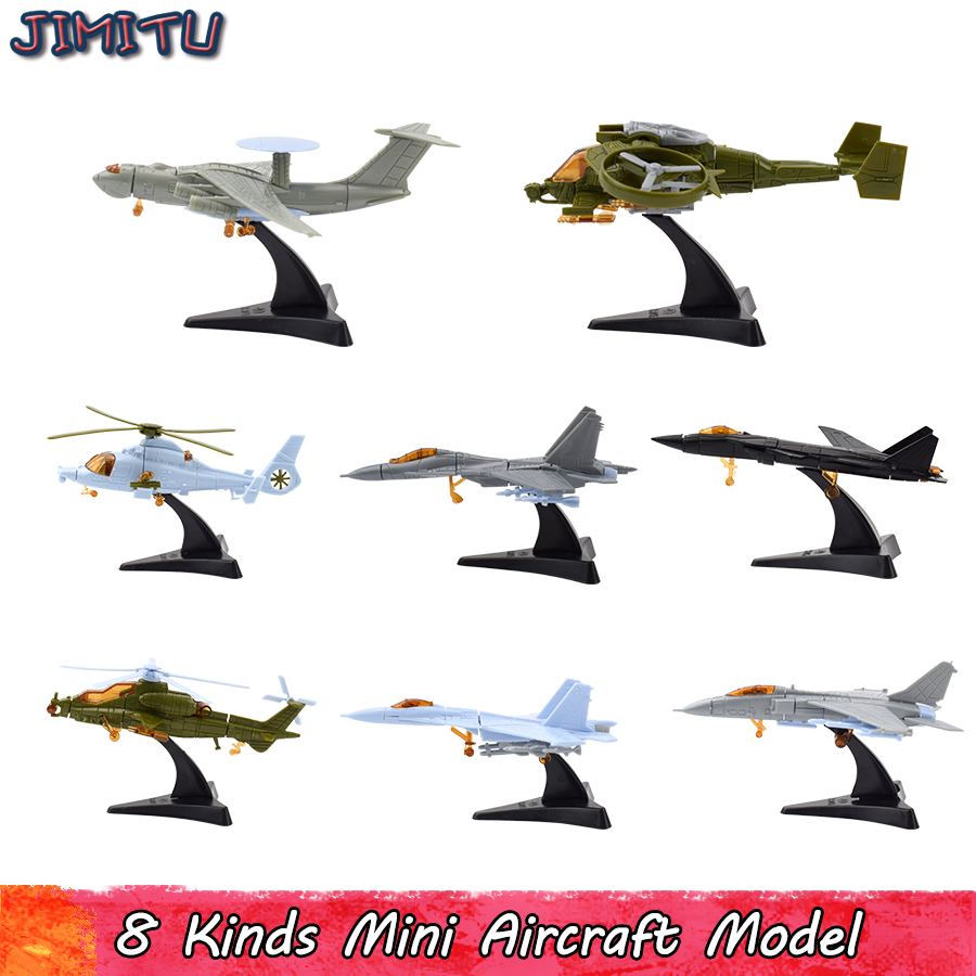 Mini Assembly Aircraft Model Kits Toys For Children Military Assembled Helicopter Fighter Building Blocks Toy Educational Model