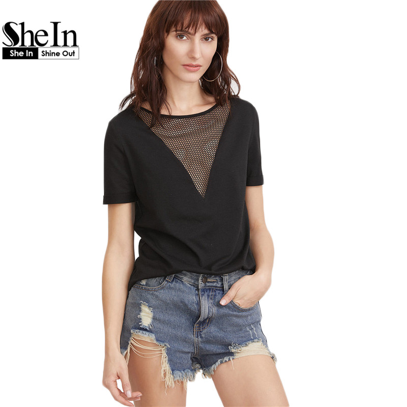 SheIn Summer 2017 Women Clothing Summer T-shirts
