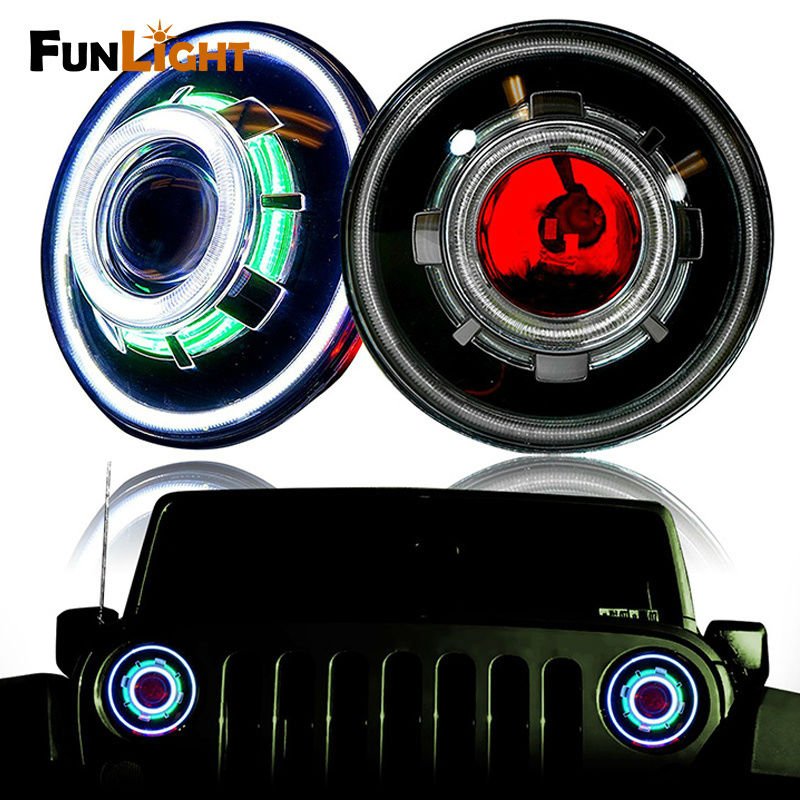 7 Inch 30W LED Headlight Hi Low Beam Headlamp with Red demon eye white angel eye