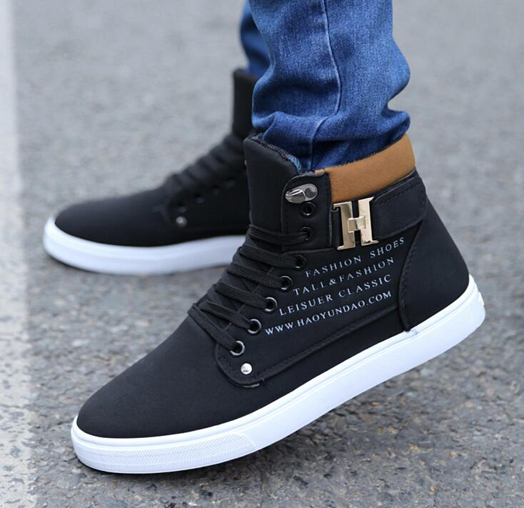 the latest adb36 142c9 New Men casual shoes Teen high-top shoes 2017 Fashion Autumn Winter casual  shoes For Man Casual Canvas Men s Shoes size 39-44