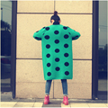 Winter 2016 New Loose Large and Long Form V-neck Pockets & Dots Decoration Warm Thicked Female Cardigan Sweater LYA-004