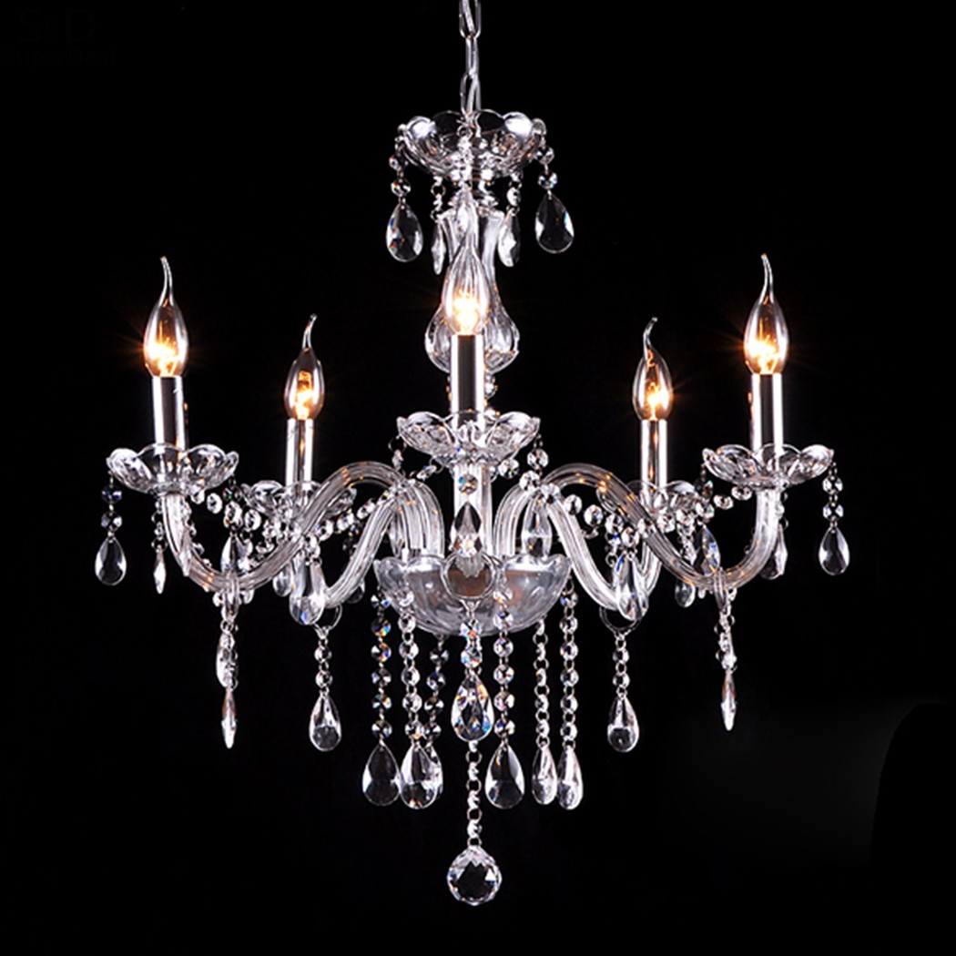 Homdox Modern Crystal Lamp Fixture 5 Pendant Lights Ceiling Chain Candle Chandelier LED Lights For Home Decoration #25-35 modern k9 crystal led ceiling pendant lamp 2 head cool white chandelier lights size 45 21 9cm