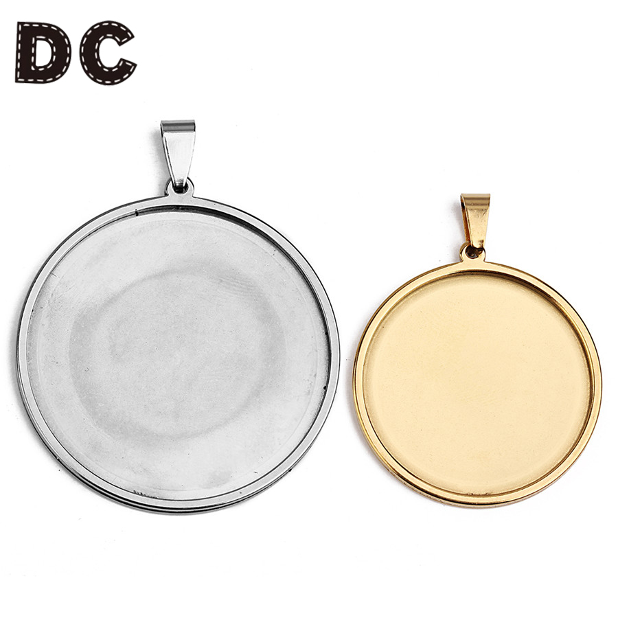 DC 5pcs/lot Stainless Steel Round Blank Pendants Tray Base fit 20mm 25mm 30mm 35mm Glass Cabochon Bases for DIY Jewelry Making stainless steel pendants base cabochon settings blank tray with pinch bail clip fit 6 8 10 12 14 16 18 20 25mm cameo diy jewelry