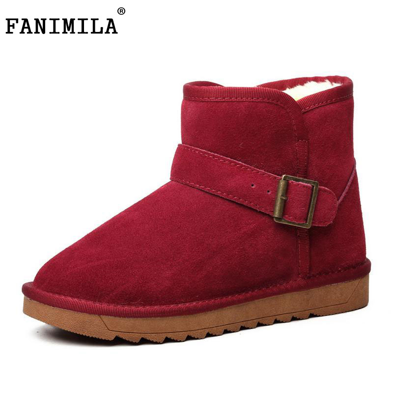 ФОТО Winter Genuine Real Leather Thickend Fur Women Ankle Flat Boots Snow Boots Fashion Buckle Women Shoes Sapato Feminino Size 35-43