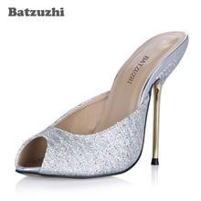 Batzuzhi Handmade Sexy Women Shoes Open Toe 12.4cm or 10.7cm Iron Toe High  Heel Slippers Ladies Silver Bling Wedding Shoes Women 35ba0d67bd00