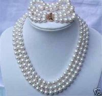 Hot sell Noble hot sell new shitou 00536 3 row natural 8 9mm Australian south sea white pearl necklace bracelet