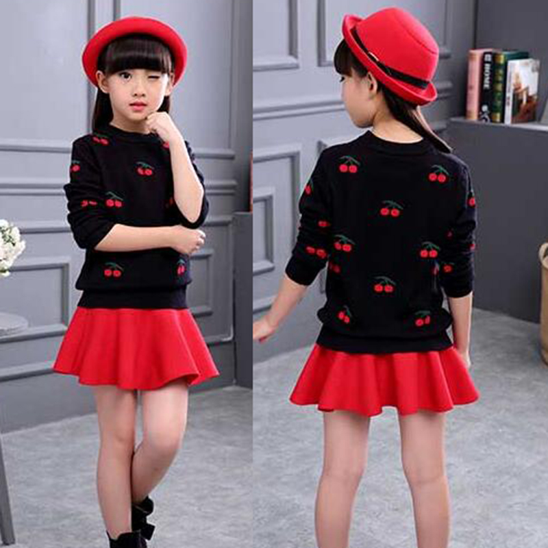Baby Kids Clothing Children Girls Cherry Pullover Knitted Sweaters For Girls Jumper Tops New 2018 Spring Clothes ...