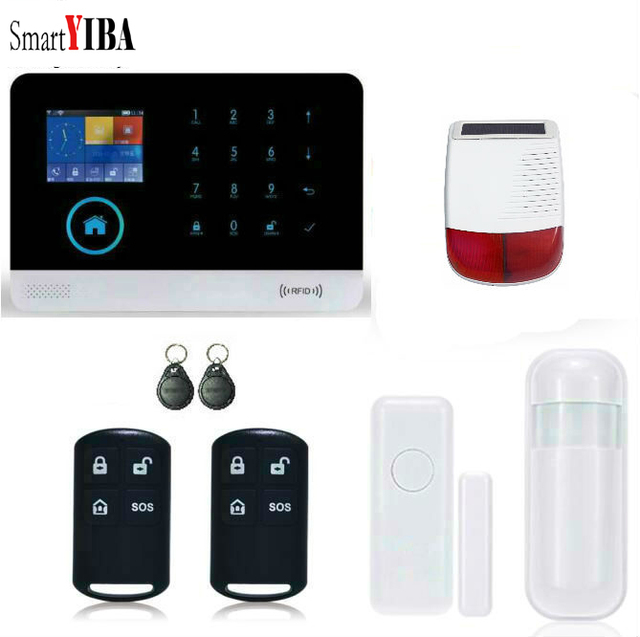 Special Price SmartYIBA WIFI APP Control Solar Powered Siren WIFI Security Alarm Door/Motion Alarm Kits Wireless GSM Alarmes For Home Safety