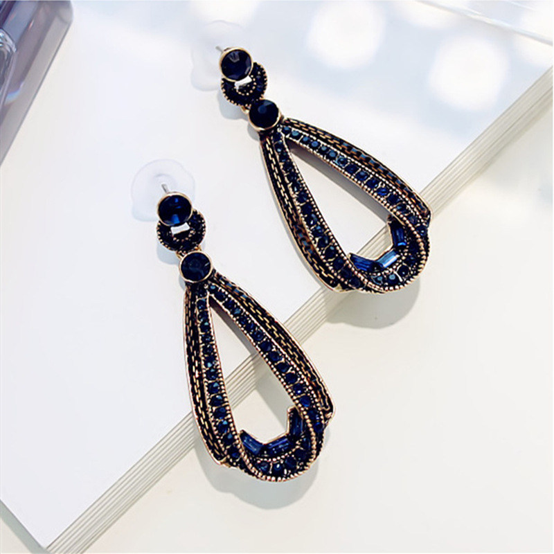 HTB1Th42Kh1YBuNjy1zcq6zNcXXag - LUBOV Exaggerated Blue Crystal Lace Golden Metal Chain Dangle Earrings Women Personality Statement Drop Earrings Christmas Gift
