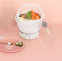 1L Folded Food grade Silicone slow cooker portable cooking pot Mini hot pot Travel electric cooker 3gear adjustment 100 240V