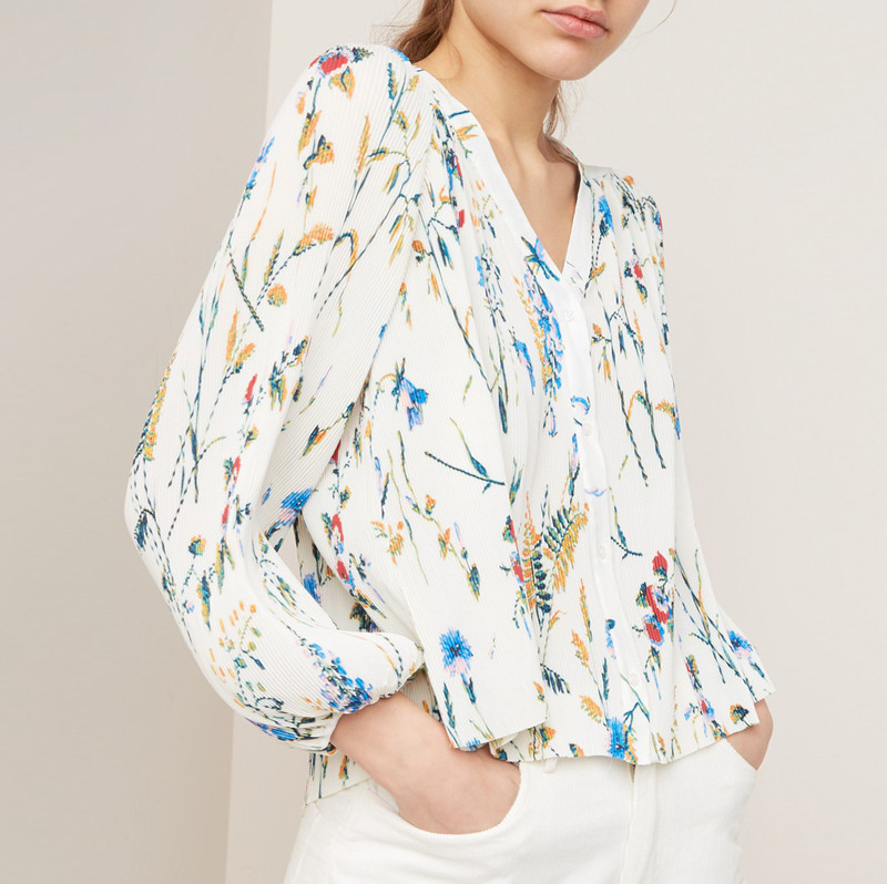 2019 New Women Loose Shirt Flower Print Elegant Chiffon Long Sleeve V neck Pleated Blouse Top