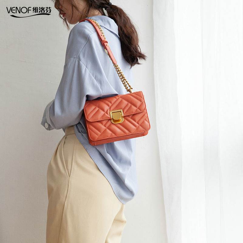 VENOF diamond lattice female flap bags fashion chain split leather shoulder bag for women elegant ladies crossbody bags for 2019