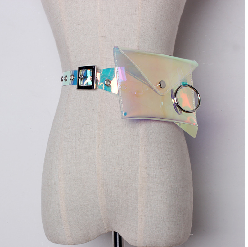 LANMREM 2019 New Fashion Metal Ring Mini-bag Personality Transparent Color Belt Women Accessories All-match JE440