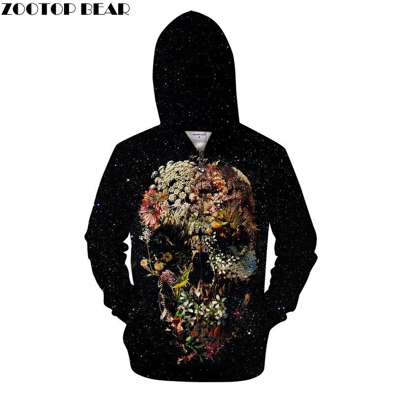 Black Grotto Flower By ALI Artist Unisex Zip Hoodie Warm Male 3D Print Skull Sweatshirts Coat Men Casual Streetwear Clothes 2018