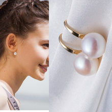 New ladies fashion simple simulation pearl earrings quality bride earrings jewelry wholesale(China)
