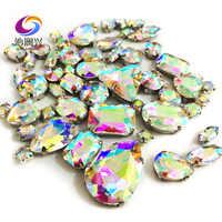 68 pz/pacco AB di colore top-livello di vetro di cristallo cuce sulle pietre, formato della miscela di strass artiglio fai da te/Abbigliamento accessori/decorazione di cerimonia nuziale