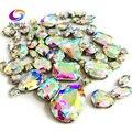 68 unidades/pacote ab color cristal de vidro de nível superior costurar em pedras, mix tamanho garra strass diy/vestuário accessorie/decoração do casamento
