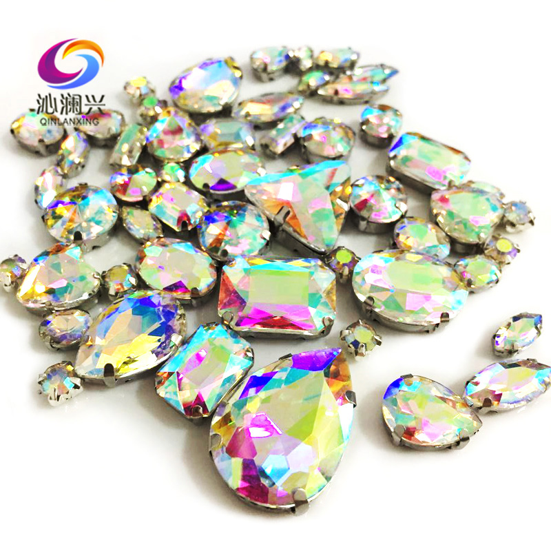 68pcs/pack AB Color Top-level Glass Crystal Sew On Stones,mix Size Claw Rhinestones Diy/Clothing Accessorie/wedding Decoration