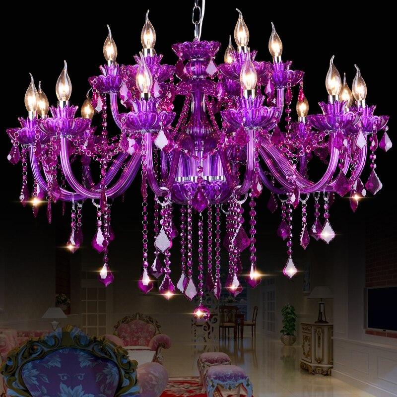 crystal chandelier purple lampshades for living dining room lustres de cristal para sala modern chandeliers lighting fixture