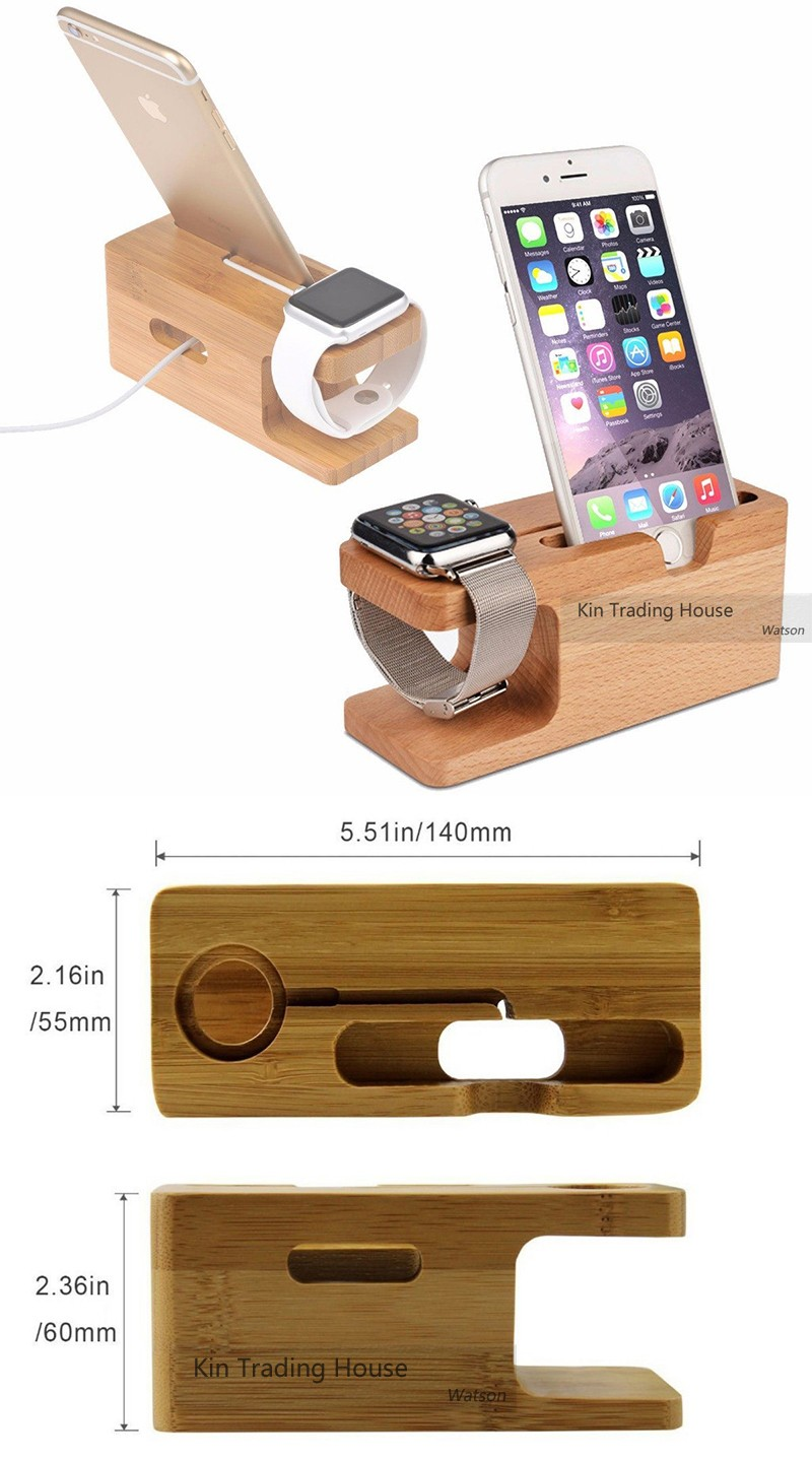 Bamboo Wood Stand Holder Station for Apple Watch iPhone 5s 6 7 X Dock 12