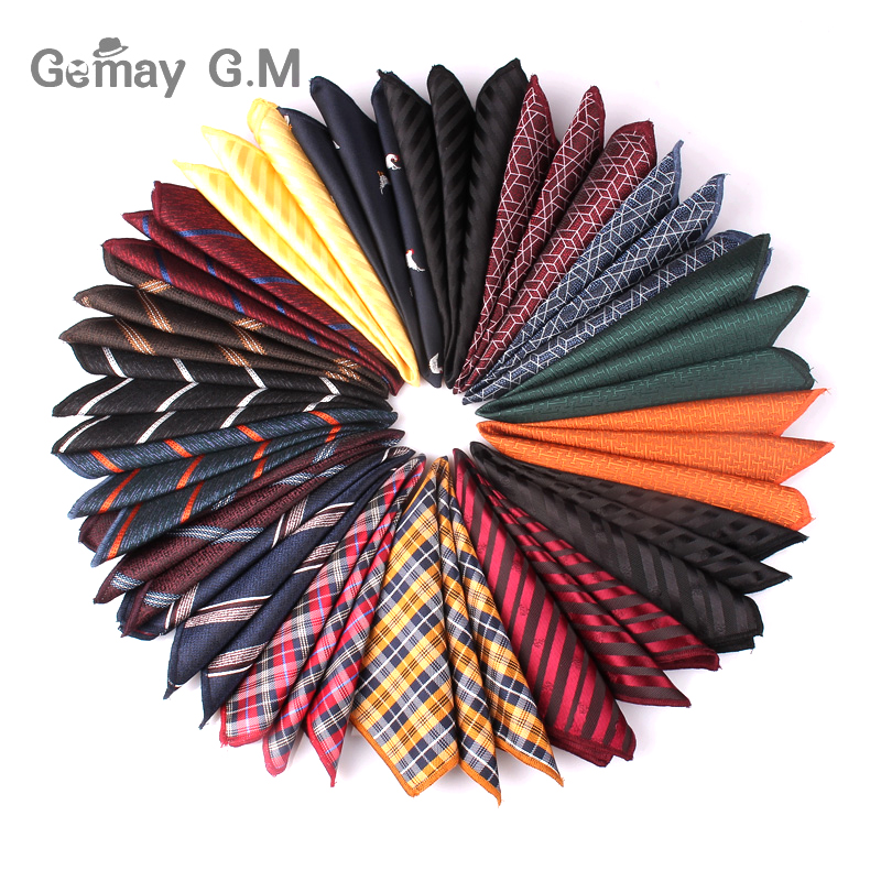 Polyester Handkerchief Striped Pocket Square For Wedding 24cm*24cm Hankies For Men Brand Suits Pocket Towel Hanky